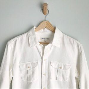 Madewell Tops - MADEWELL White Denim Button Down Long Sleeve Shirt